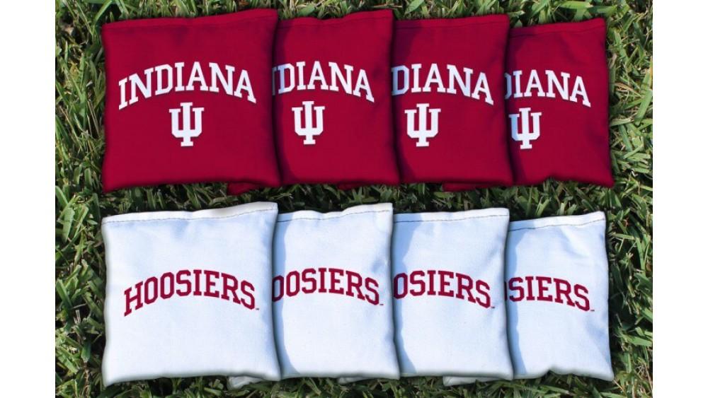Set of 8 ACA Regulation Cornhole Bags Handmade from Indiana Hoosier Print and Purdue University Print