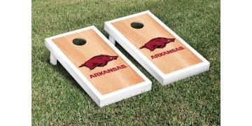 Arkansas University of Hardwood Border Cornhole Boards