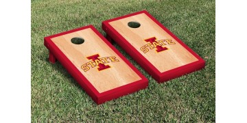 Iowa State University Hardwood Border Cornhole Boards