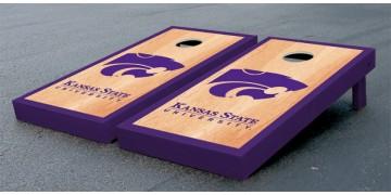 Kansas State University Hardwood Border Cornhole Boards