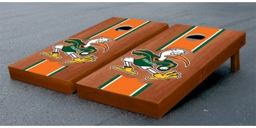 Miami University of Hardwood Stripe Cornhole Boards
