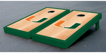 Miami University of Hardwood Border Cornhole Boards