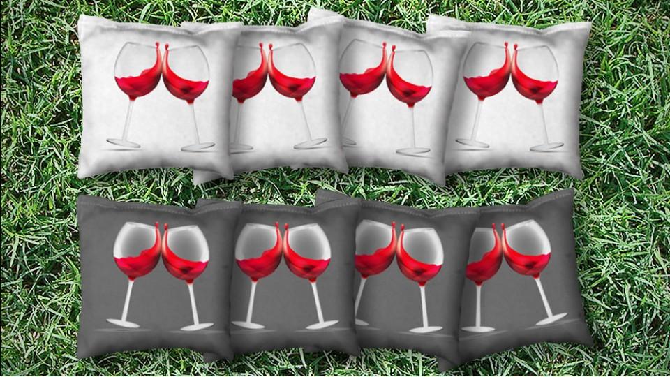 The Wine a Littles - 8 Cornhole Bags