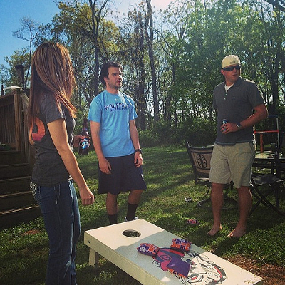 A little Easter Sunday cornhole action.